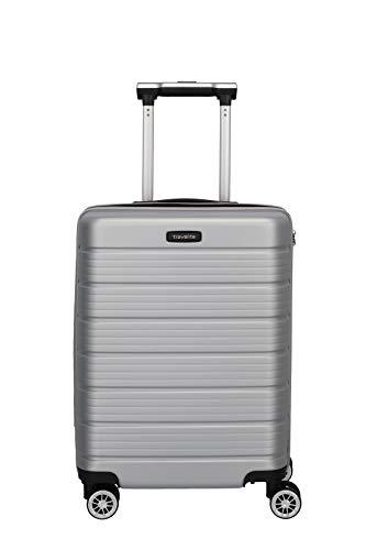 Travelite Funktionaler, smarter, starker, sportlich-eleganter Business-Reisekoffer Hartschalen Trolley Soho Koffer, 55 cm, 43 Liter, Silber