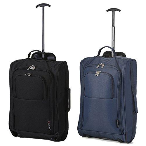 Set mit 2 Superleichtgewicht Cabin Approved Gepäck Travel Wheely Suitcase Radfahrtaschen Taschen Schwarz + Marine