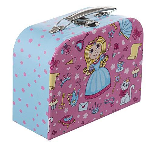 Bieco Kinderkoffer mit Prinzessin Motiv, Koffer aus Pappe, Metall Tragegriff, Köfferchen für Kinder, Kindergepäck, 15×20 cm, Hellblau Pink 04003024