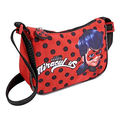 Kleiner Beutel Miraculous Ladybug und Cat Noir für Mädchen – 19x14x7 cm – Rot und Schwarze Tupfen – Lady Bug Umhänge für Kinder – Perletti – Schultertasche für Reisen und Freizeit
