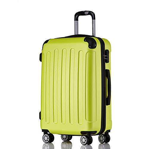 BEIBYE Hartschalen-Koffer Trolley Rollkoffer Reisekoffer Handgepäck 4 Rollen M-L-XL-Set Green, XL