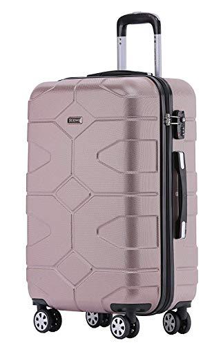 BEIBYE – TSA Schloß 2035 Hartschale Reisekoffer Koffer Handgepäck Trolley Rosagold, L