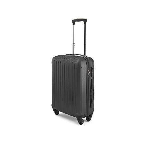 Eglemtek Leichtes ABS Hard Shell 4 Räder Handgepäck Trolley Koffer Gepäck Gepäck Koffer Reise Gepäck Gepäck, genehmigt für Ryanair, Easyjet, Lufthansa, Jet2 und viel mehr, schwarz