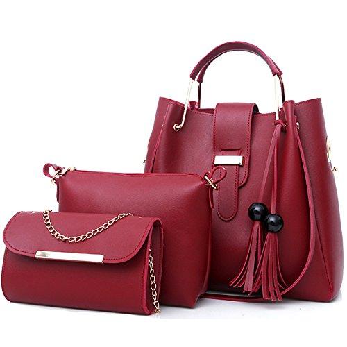 FiveloveTwo Damen 3Pcs PU Leder Tasche Set Handtasche + Schultertasche + Umhängetasche Henkeltaschen Rucksackhandtaschen Shopper Clutches Handbag Set Tote Tragetaschen Burgund