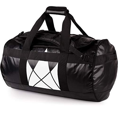 Rucksackfunktion – SANDHAMN Schwarz, Kronenprint 60L – Duffel Bag Rucksack 30L/60L/90L – The Friendly Swede Reisetasche Duffle Bag – Sporttasche Travel Bag