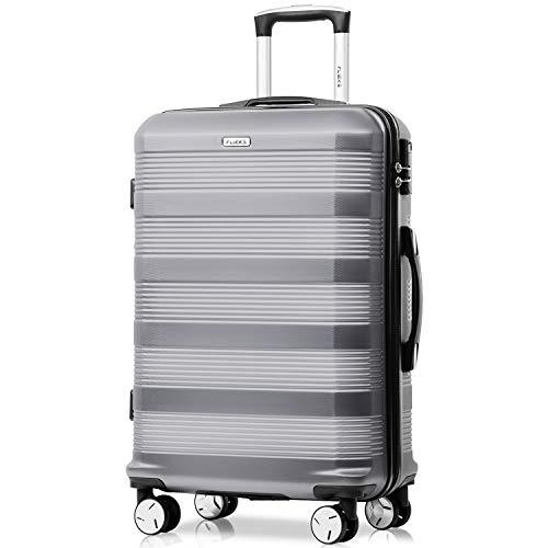 Flieks Reisekoffer Kofferset Hartschale 4 Zwillingsrollen Trolleys Gepäck Koffer Handgepäck, 67cm, 63 Liter Silber, L