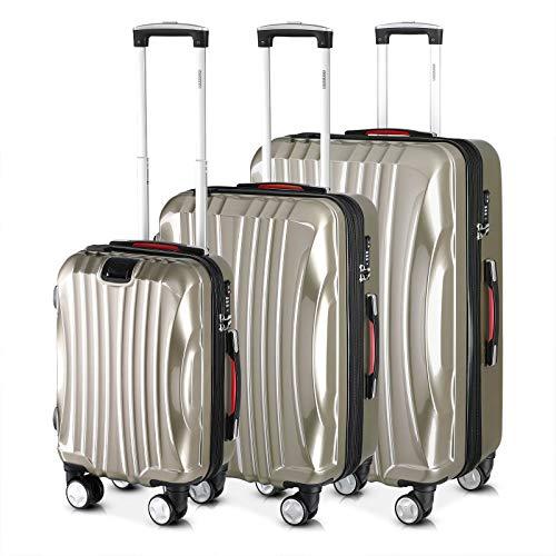 Monzana® Ikarus 3er Set Koffer   Champagner M, L, XL   USB-Port TSA-Schloss   Reisekoffer Trolley Kofferset Rollkoffer