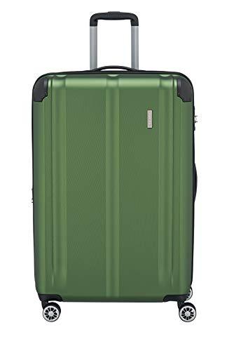 """Travelite Leicht, flexibel, sicher: """"City""""-Hartschalenkoffer für Urlaub und Business auch mit Vortasche Koffer, 77 cm, 113 Liter, Grün"""
