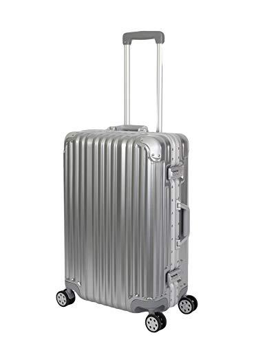 Travelhouse London Koffer Silber M-65cm · Alu Rahmen · Polycarbonat Hartschale · Reisetrolley Suitecase Trolley · 2X TSA Zahlenschloss · 4 Doppelräder · 360°Rollen · Marken-Qualität · Vol. 67L
