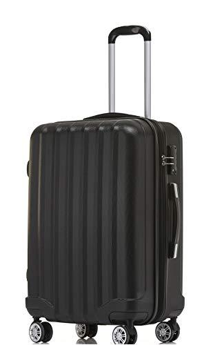 BEIBYE TSA-Schloß 2080 Hangepäck Zwillingsrollen neu Reisekoffer Koffer Trolley Hartschale Set-XL-L-MBoardcase Schwarz, L