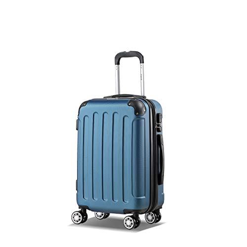 Farbe Blau Größe M Hartschalen-Koffer Trolley Rollkoffer Reisekoffer Handgepäck 4 Rollen – Flexot 2045 Handgepäck Koffer Bordcase