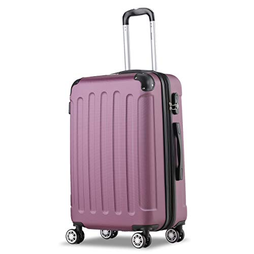 Flexot 2045 Koffer – FarbeLila Violett Größe L Hartschalen-Koffer Trolley Rollkoffer Reisekoffer 4 Rollen
