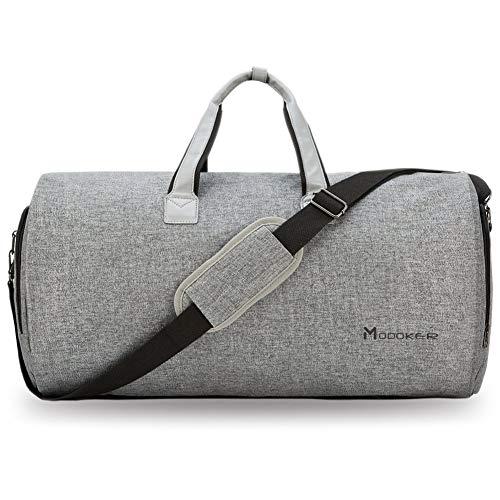 2 in 1 Hängender Koffer Anzug Reisetaschen, Hochwertige Kleiderhülle für Anzug und Kleid Grau – Modoker Kleidersack Anzughülle für Männer Frauen, Anzugtasche für Reisen, Kleidertaschen Schuhbeutel