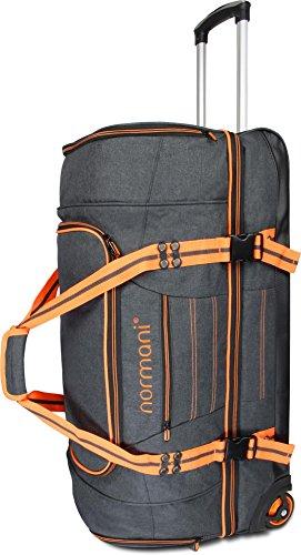 normani Reisetasche Reisetrolley mit Rollen 90 oder 120 Liter Volumen mit Verschiedenen Fächern Farbe A+ Orange Größe 120 Liter