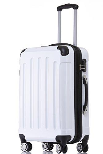 BEIBYE Zwillingsrollen 2048 Hartschale Trolley Koffer Reisekoffer in M-L-XL-Set in 17 Farben Weiß, M
