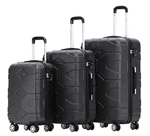 BEIBYE – TSA Schloß 2035 Hartschale Reisekoffer Koffer Handgepäck Trolley Schwarz, Set