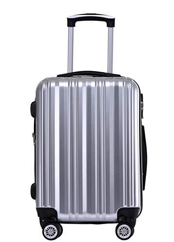 Münicase- Hartschalen Koffer Reisekoffer Trolley Rollkoffer Polycarbonat TSA-Schloß Kofferset Gepäckset Silber, Großer Koffer ca.76cm