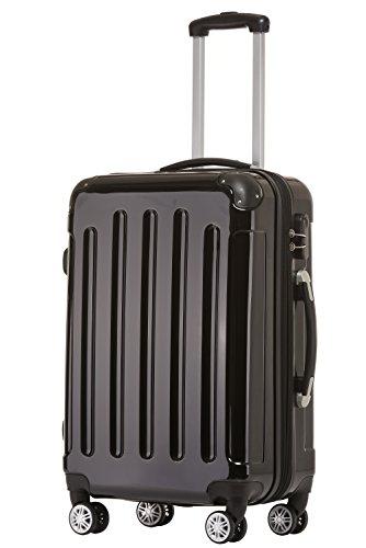 BEIBYE Zwillingsrollen 2048 Hartschale Trolley Koffer Reisekoffer in M-L-XL-Set in 15 Farben Schwarz, XL