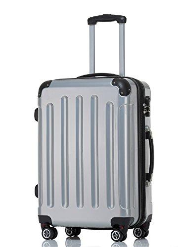 BEIBYE Hartschalen Koffer Trolley Rollkoffer Reisekoffer 4 Zwillingsrollen Polycabonat Silber, 66cm – 70L