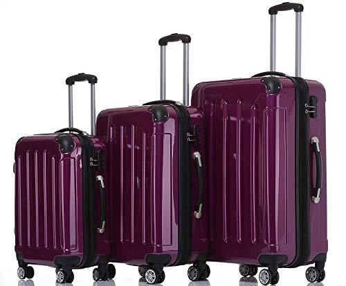 BEIBYE Hartschalen Koffer Trolley Rollkoffer Reisekoffer 4 Zwillingsrollen Polycabonat Lila, Kofferset