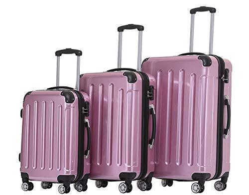 BEIBYE Hartschalen Koffer Trolley Rollkoffer Reisekoffer 4 Zwillingsrollen Polycabonat Rosa, Kofferset
