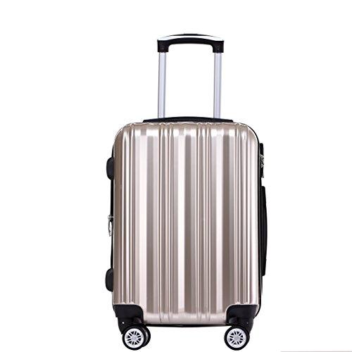 Münicase- Hartschalen Koffer Reisekoffer Trolley Rollkoffer Polycarbonat TSA-Schloß Kofferset Gepäckset Champagner, Mittler Koffer ca.66cm