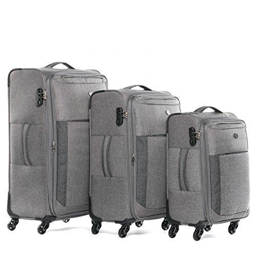Handgepäck 55 cm L XL – FERGÉ Kofferset Weichschale 3-teilig erweiterbar Saint-Tropez Trolley-Set – 3er Stoffkoffer Roll-Koffer 4 Rollen Stretch-Flex grau