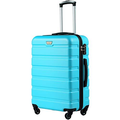 COOLIFE Hartschalen-Koffer Trolley Rollkoffer Reisekoffer mit TSA-Schloss und 4 Rollen Himmel blau, Großer Koffer