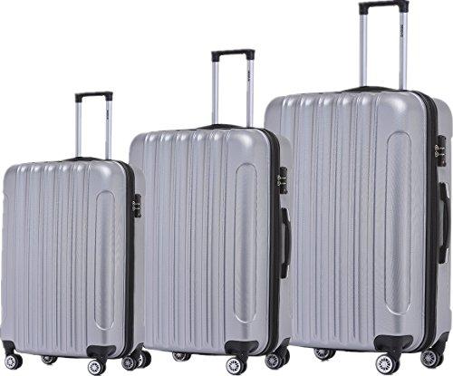 BEIBYE Zwillingsrollen 2050 Hartschale Trolley Koffer Reisekoffer in M-L-XL-Set in 12 Farben Silber, Kofferset+TSA Schloß