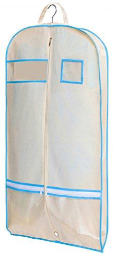 """Misslo, 40"""", Kleidersack, mit Reißverschluss-Taschen für Tanz, Kleid, Abdeckung, Textil, beige, 101,6 cm 40 zoll"""