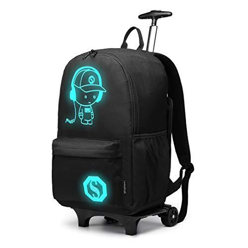 Kono Handgepäck Rucksack Tasche mit Rollen Business Trolley Reisetasche für Laptop Polyester Schwarz Schwarz