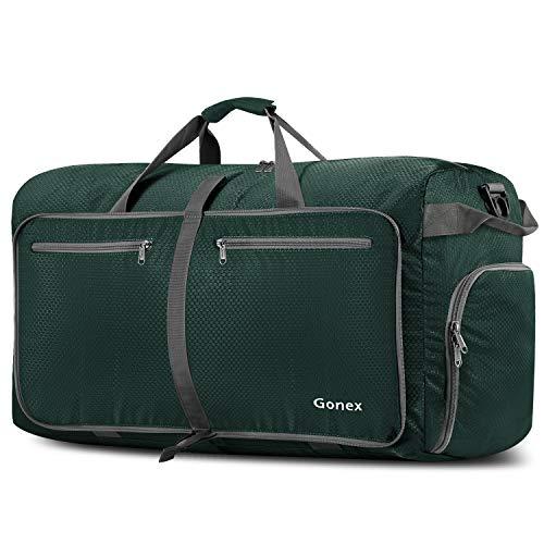 Gonex Leichter Faltbare Reise-Gepäck 100L, Farbe: Dunkelgrün, Duffel Taschen Uebernachtung Taschen/Sporttasche für Reisen Sport Gym Urlaub