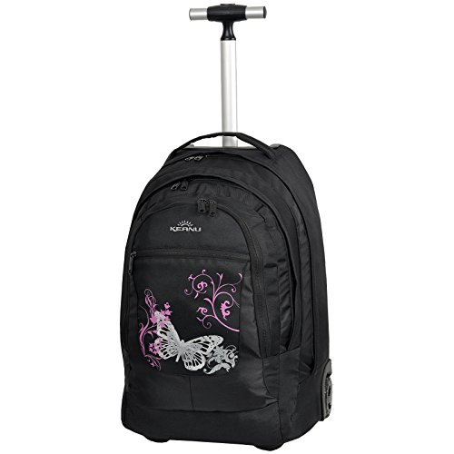 Premium Schultrolley KEANU hochwertiger XL Schulrucksack Rucksack Driver Cruiser Bordgepäck Ranzen Trolley :: Diverse Motive Butterfly Tattoo Dragon :: 35 Liter, Organizerfach, Laptopfach