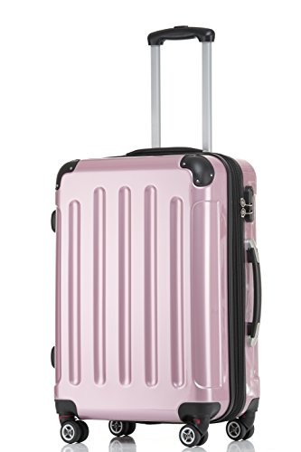 BEIBYE Hartschalen Koffer Trolley Rollkoffer Reisekoffer 4 Zwillingsrollen Polycabonat Rosa, 66cm – 70L