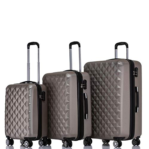BEIBYE Kofferset 4 Zwillingsrollen Hartschale Trolley Koffer Reisekoffer Reisekofferset Gepäckset in 12 Farben Champagner