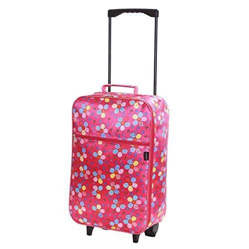 Slimbridge Leichtgewicht Kinder Handgepäck Trolley Koffer Bordgepäck Reisekoffer Superleicht Gepäck mit Rollen – 55 cm 950 Gramm 27 Liter auf 2 Rädern, Barcelona Pink