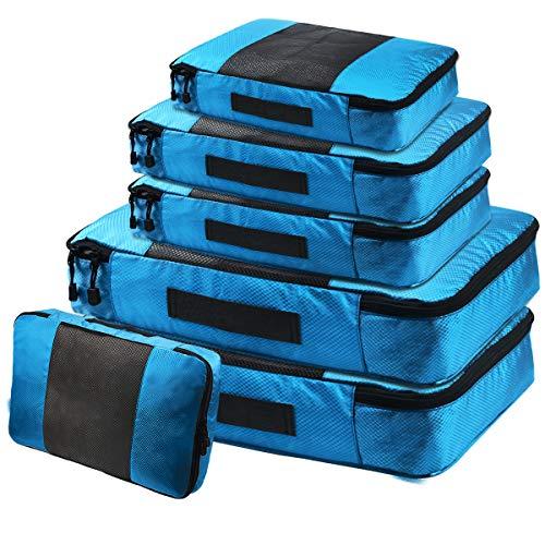 Blau – Kleidertaschen Koffer Organizer Set, Netspower 6er Kofferorganizer Reisetaschen Packtaschen Wasserdicht Reisegepäck für Koffer Rucksack Reise Schuhe Kleidung Kosmetik Bra