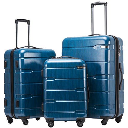 COOLIFE Koffer Reisekoffer Vergrößerbares Gepäck Nur Großer Koffer Erweiterbar PC + ABS Material mit TSA-Schloss und 4 RollenCaribbean Blue, Koffer-Set