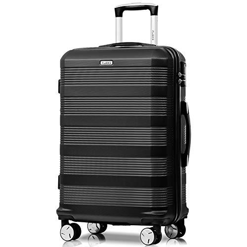 Flieks Reisekoffer Kofferset Hartschale 4 Zwillingsrollen Trolleys Gepäck Koffer Handgepäck, 77cm, 85 Liter Schwarz, XL