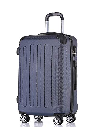 BEIBYE Hartschalen-Koffer Trolley Rollkoffer Reisekoffer Handgepäck 4 Rollen M-L-XL-Set Dunkelblau, XL
