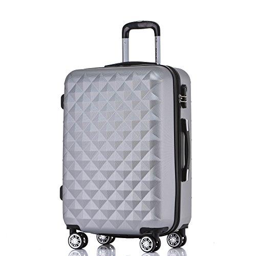 BEIBYE Zwillingsrollen 2066 Hartschale Trolley Koffer Reisekoffer Gepäck M-L-XL-Set Silber, L