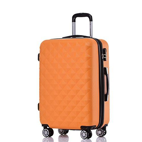 BEIBYE Zwillingsrollen 2066 Hartschale Trolley Koffer Reisekoffer Gepäck M-L-XL-Set Orangen, M