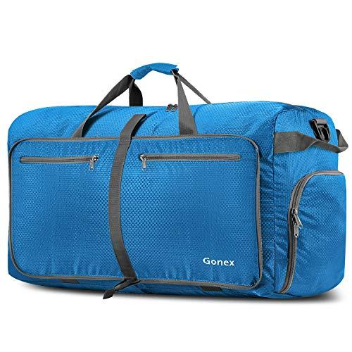 Gonex Leichter Faltbare Reise-Gepäck 100L, Farbe: Himmelblau, Duffel Taschen Uebernachtung Taschen/Sporttasche für Reisen Sport Gym Urlaub