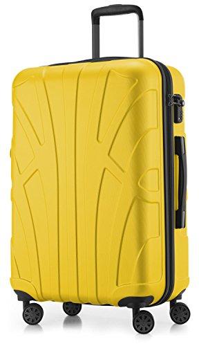SUITLINE – Hartschalen-Koffer Koffer Trolley Rollkoffer Reisekoffer, TSA, 66 cm, 68 Liter, Gelb