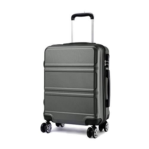 Kono Koffer Trolley Hartschale Handgepäck Zwillingsrollen Leichtgewicht ABS Kabinentrolley Reisekoffer Zahlenschloss 55cm grau