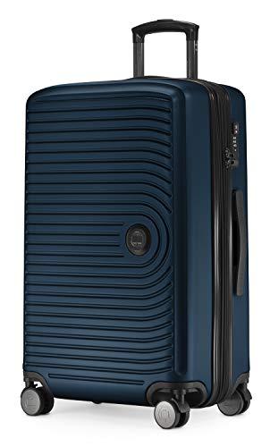 Mitte – Mittelgroßer Hartschalenkoffer, Check-In Gepäck mit 8 cm Volumenerweiterung, TSA, 4 gummierte Doppelrollen, 68 cm, 88 L, Dunkelblau – HAUPTSTADTKOFFER