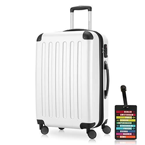Spree Hartschalen-Koffer Koffer Trolley Rollkoffer Reisekoffer Erweiterbar, 4 Rollen, TSA, 65 cm, 74 Liter, Weiss +Design Kofferanhänger – Hauptstadtkoffer