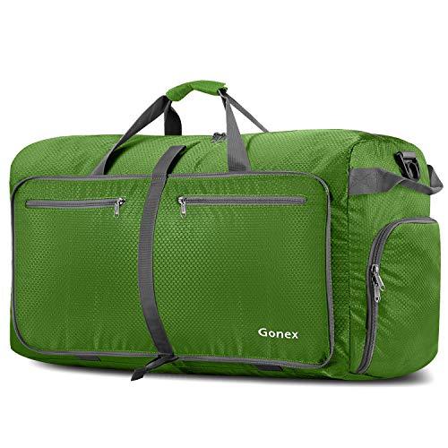 Gonex Leichter Faltbare Reise-Gepäck 100L, Farbe: Grün, Duffel Taschen Uebernachtung Taschen/Sporttasche für Reisen Sport Gym Urlaub