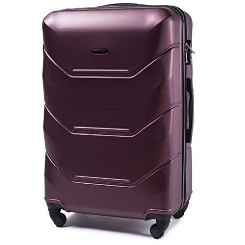 Leichter Flugzeugkoffer – Luxuriöser und moderner Koffer mit zweistufigen Teleskopgriff und Kombinationsschloss Burgund, L 78x49x29 – VINCI LUGGAGE Geräumiger Kabinentrolley