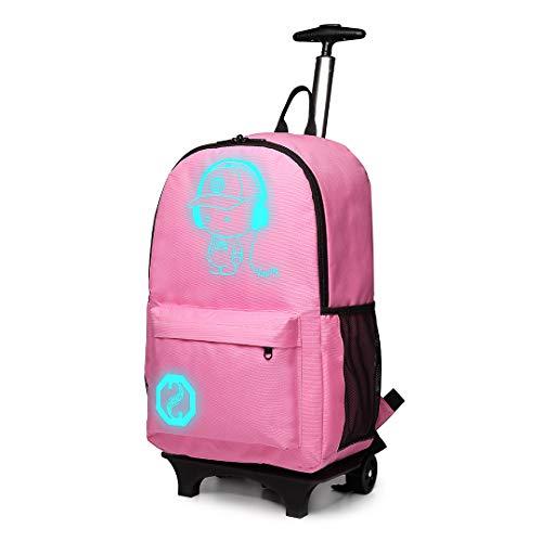Kono Handgepäck Rucksack Tasche mit Rollen Business Trolley Reisetasche für Laptop Polyester Schwarz Rosa